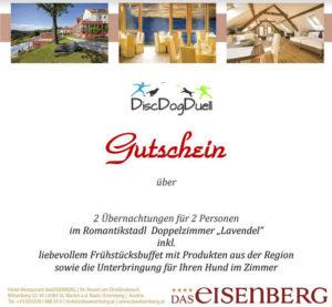 Finalpreis des DDD Saisonfinale - Österreichische Meisterschaft - Gutschein für eine Übernachtung im Hundehotel Eisenberg