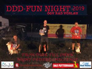 Podium der DDD Fun Night (Gesamtergebnis): 1. Platz Josef & Yukon, 2. Platz Andrew & Flag, 3. Platz: Mike & Taboo